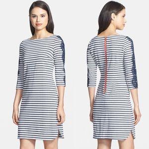 Eliza J Lace Stripe Ponte Knit Shirttail Dress